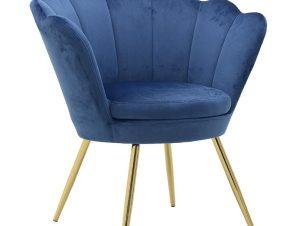 Πολυθρόνα Βελούδινη inart 76x60x80/45εκ. 3-50-372-0009 (Ύφασμα: Βελούδο, Χρώμα: Μπλε) – inart – 3-50-372-0009
