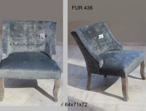 Πολυθρόνα Υφασμάτινη-Ξύλινη Royal Art 64x71x72εκ. FUR436GR (Υλικό: Ξύλο, Ύφασμα: Βελούδο) – Royal Art Collection – FUR436GR