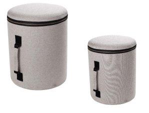 Πουφ Σετ 2τμχ Με Αποθηκευτικό Χώρο Plywood-Polyester ESPIEL POF108 (Ύφασμα: Polyester, Χρώμα: Μπεζ, Υλικό: Plywood (κόντρα πλακέ)) – ESPIEL – POF108