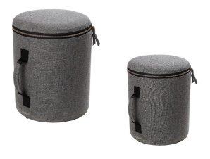 Πουφ Σετ 2τμχ Με Αποθηκευτικό Χώρο Plywood-Polyester ESPIEL POF109 (Ύφασμα: Polyester, Χρώμα: Γκρι, Υλικό: Plywood (κόντρα πλακέ)) – ESPIEL – POF109