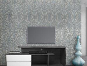 Έπιπλο Τηλεόρασης Με 2 Συρτάρια Μελαμίνης Γκρι-Λευκό 148x40x60εκ. FB92212.02 (Υλικό: Μελαμίνη, Χρώμα: Λευκό) – Freebox – FB92212.02