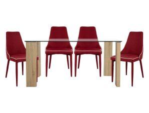 Σετ Τραπεζαρία 5τμχ Με Γυάλινο Τραπέζι Και Καρέκλες Μπορντώ 140×80εκ. Freebox FB910079.04 (Υλικό: Ξύλο, Χρώμα: Μπορντώ ) – Freebox – FB910079.04