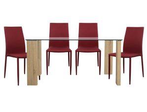 Σετ Τραπεζαρία 5τμχ Με Γυάλινο Τραπέζι Και Καρέκλες Κόκκινες 140×80εκ. Freebox FB910026.04 (Υλικό: Ξύλο, Χρώμα: Κόκκινο) – Freebox – FB910026.04