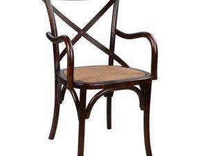 Καρέκλα Με Μπράτσα Ξύλινη-Ψάθινη Καφέ 50,5×58,5×89εκ. Freebox FB90105.03 (Υλικό: Ξύλο, Χρώμα: Καφέ) – Freebox – FB90105.03