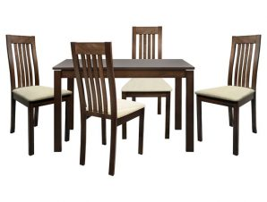 Σετ Τραπεζαρία 5τμχ Με Ανοιγόμενο Ξύλινο Τραπέζι 120+(30)x80x75εκ. Και 4 Καρέκλες Καρυδί-Εκρού Freebox FB910049 (Υλικό: Ξύλο, Χρώμα: Εκρού ) – Freebox – FB910049
