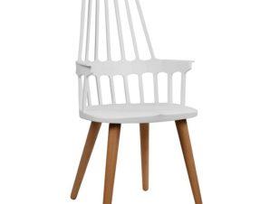 Καρέκλα Πολυθρόνα Ξύλινη-Πολυπροπυλενίου Λευκή 55,5x56x102εκ. Freebox FB90107.01 (Υλικό: Ξύλο, Χρώμα: Λευκό) – Freebox – FB90107.01