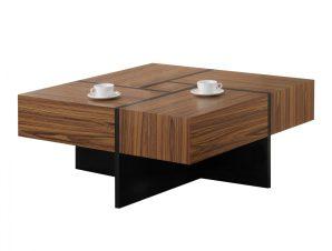 Τραπέζι Σαλονιού Ξύλινο Καρυδί-Μαύρο 100x100x45Υεκ. Freebox FB8100 (Υλικό: Mdf, Χρώμα: Μαύρο) – Freebox – FB98100