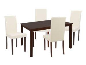 Σετ Τραπεζαρίας 5τμχ Με Ξύλινο Τραπέζι 120x75x74εκ. Και Καρέκλες Εκρού-Καρυδί Freebox FB910256 (Υλικό: Ξύλο, Χρώμα: Εκρού ) – Freebox – FB910256