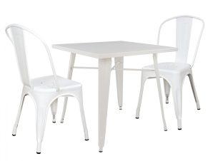 Σετ 3τμχ Τραπέζι Ματ Και Καρέκλες Μεταλλικά Λευκά 80x80x76εκ. Freebox FB910308 (Υλικό: Μεταλλικό, Χρώμα: Λευκό) – Freebox – FB910308
