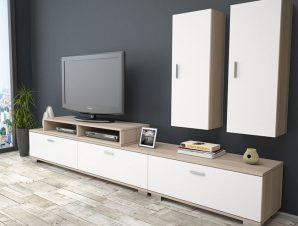 Σύνθεση Τηλεόρασης Με Ντουλάπι Μελαμίνης Sonama-Λευκό 271x40x38,5-54εκ. Freebox FB92295.02 (Υλικό: Μελαμίνη, Χρώμα: Λευκό) – Freebox – FB92295.02