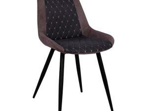 Καρέκλα Μεταλλική-Pu Με Ύφασμα Nubuck Καφέ-Μαύρη 50x60x83Υεκ. Freebox FB98226 (Υλικό: Μεταλλικό, Χρώμα: Μαύρο) – Freebox – FB98226