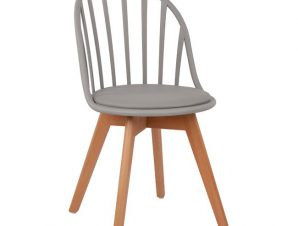 Καρέκλα Πολυπροπυλενίου Με Ξύλινα Πόδια Και Κάθισμα Γκρι 47x56x84εκ. Freebox FB98456.10 (Υλικό: Ξύλο, Χρώμα: Γκρι) – Freebox – FB98456.10