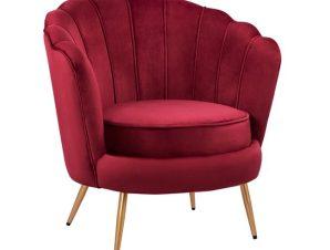 Πολυθρόνα Βελούδινη Κόκκινη 80x78x85εκ. Freebox FB98493.06 (Ύφασμα: Βελούδο, Χρώμα: Κόκκινο) – Freebox – FB98493.06