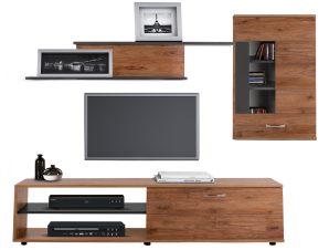 Σύνθεση Τηλεόρασης Μελαμίνης 160×35,5×43εκ. Με Ντουλάπι 56,5×27,5×90εκ. Μόκα-Γκρι Freebox FB92320.02 (Υλικό: Μελαμίνη, Χρώμα: Γκρι) – Freebox – FB92320.02