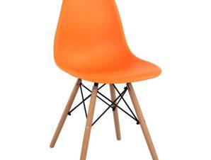 Καρέκλα Πολυπροπυλενίου Πορτοκαλί Με Ξύλινα Πόδια 46x50x82εκ. Freebox FB98460.06 (Υλικό: Ξύλο, Χρώμα: Πορτοκαλί) – Freebox – FB98460.06