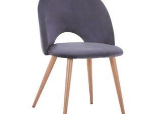 Καρέκλα Βελούδινη Γκρι Με Μεταλλικά Πόδια 52×49,5×77εκ. Freebox FB98544.01 (Υλικό: Μεταλλικό, Ύφασμα: Βελούδο, Χρώμα: Γκρι) – Freebox – FB98544.01