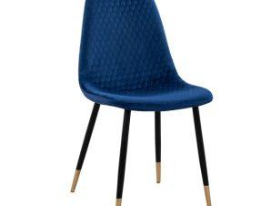 Καρέκλα Βελούδινη Μπλε Με Μαύρο Ματ Μεταλλικό Σκελετό 45x56x81εκ. Freebox FB98552.08 (Υλικό: Μεταλλικό, Ύφασμα: Βελούδο, Χρώμα: Μαύρο) – Freebox – FB98552.08