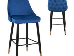 Σκαμπώ Μπαρ Βελούδινο Μπλε Με Μεταλλικό Σκελετό 51x57x110Yεκ. Freebox FB98519.08 (Υλικό: Μεταλλικό, Ύφασμα: Βελούδο, Χρώμα: Μπλε) – Freebox – FB98519.08