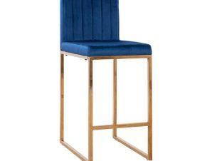 Σκαμπώ Μεσαίου Ύψους Βελούδινο Μπλε Με Μεταλλικό Σκελετό Χρυσό 40x49x96Υεκ. Freebox FB98525.08 (Υλικό: Μεταλλικό, Ύφασμα: Βελούδο, Χρώμα: Μπλε) – Freebox – FB98525.08