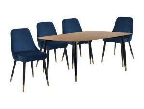Σετ Τραπεζαρίας 5τμχ Με Τραπέζι 160x90x74εκ. & Καρέκλες Βελούδινες Μπλε 55x56x82εκ. Freebox FB911180 (Υλικό: Μεταλλικό, Ύφασμα: Βελούδο, Χρώμα: Μαύρο) – Freebox – FB911180