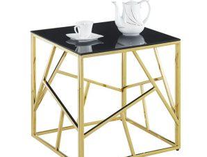 Τραπέζι Σαλονιού Με Μαύρο Γυαλί Και Επίχρυση Βάση 55x55x55εκ. Freebox FB98619.01 (Υλικό: Μεταλλικό, Χρώμα: Μαύρο) – Freebox – FB98619.01