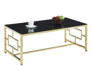 Τραπέζι Σαλονιού Με Μαύρο Γυαλί Και Επίχρυση Βάση 120x60x45εκ. Freebox FB98623.02 (Υλικό: Γυαλί, Χρώμα: Μαύρο) – Freebox – FB98623.02