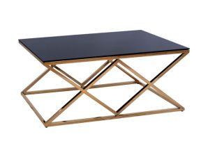Τραπέζι Σαλονιού Με Μαύρο Γυαλί Και Επίχρυση Βάση 120x60x45εκ. Freebox FB98624.02 (Υλικό: Μεταλλικό, Χρώμα: Μαύρο) – Freebox – FB98624.02