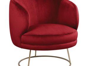 Πολυθρόνα Βελούδινη Κόκκινη Με Χρυσή Βάση 80x75x82Υεκ. Freebox FB98403.06 (Ύφασμα: Βελούδο, Χρώμα: Κόκκινο) – Freebox – FB98403.06