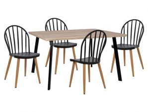 Σετ 5τμχ Τραπέζι Sonama & Καρέκλες Πολυπροπυλενίου Μαύρες Με Μεταλλικά Πόδια Freebox FB911038 (Υλικό: Μεταλλικό, Χρώμα: Μαύρο) – Freebox – FB911038