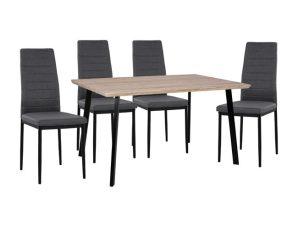 Σετ 5τμχ Τραπέζι Sonama 140x80x76εκ. & Καρέκλες Γκρι Με Μαύρο Σκελετό Freebox FB911040 (Υλικό: Μεταλλικό, Χρώμα: Μαύρο) – Freebox – FB911040