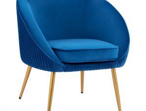 Πολυθρόνα Από Μπλε Βελούδο & Μεταλλικά Χρυσά Πόδια 71x67x78Υεκ. Freebox FB98633.18 (Υλικό: Μεταλλικό, Ύφασμα: Βελούδο, Χρώμα: Μπλε) – Freebox – FB98633.18