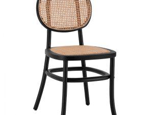 Καρέκλα Ξύλινη Με Πλέξη Rattan Μαύρη 44x51x87εκ. Freebox FB98747 (Υλικό: Ξύλο, Χρώμα: Μαύρο) – Freebox – FB98747