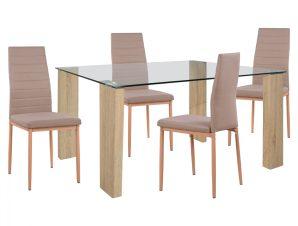 Σετ Τραπεζαρίας 5τμχ Με Τραπέζι 140x80x75εκ. & Καρέκλες Μπεζ Freebox FB911407 (Υλικό: Γυαλί, Χρώμα: Μπεζ) – Freebox – FB911407