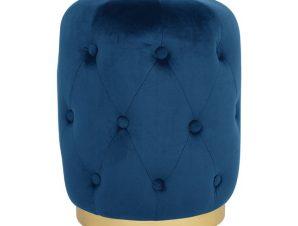 Σκαμπώ Βελούδινο Μπλε Με Χρυσή Βάση FB98405.08 Φ37×46Υεκ. (Ύφασμα: Βελούδο, Χρώμα: Μπλε) – Freebox – FB98405.08