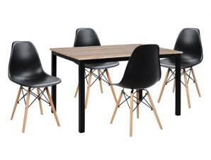 Σετ Τραπεζαρίας 5τμχ Με Τραπέζι Και Καρέκλες Μαύρες Twist 110x70x76εκ. Freebox FB910340 (Υλικό: Ξύλο, Χρώμα: Μαύρο) – Freebox – FB910340