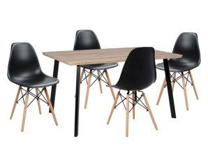 Σετ Τραπεζαρίας 5τμχ Με Τραπέζι Και 4 Καρέκλες Μαύρες 140x80x76εκ. Freebox FB910346 (Υλικό: Ξύλο, Χρώμα: Μαύρο) – Freebox – FB910346