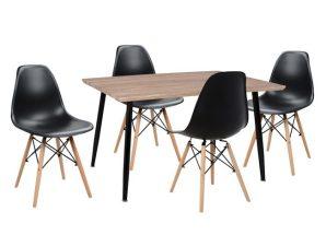 Σετ Τραπεζαρίας 5τμχ Με Τραπέζι Και Καρέκλες Μαύρες 120x70x76,5εκ. Freebox FB910349.01 (Υλικό: Ξύλο, Χρώμα: Μαύρο) – Freebox – FB910349.01