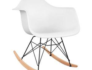 Πολυθρόνα Κουνιστή Ξυλινη-Πολυπροπυλενίου Με Λευκό Κάθισμα Και Μαύρο Σκελετό 61x71x64εκ. Freebox FB90035.11 (Υλικό: Ξύλο, Χρώμα: Λευκό) – Freebox – FB90035.11