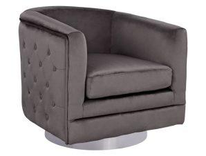 Πολυθρόνα Βελούδινη Γκρι-Ασημί 80x80x76εκ. FB98494.01 (Ύφασμα: Βελούδο, Χρώμα: Γκρι) – Freebox – FB98494.01