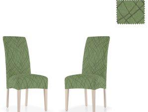 Σετ (2 Τμχ) Ελαστικά Καλύμματα Καρεκλών Με Πλάτη Karen-Πράσινο
