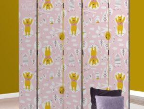 Ο Winnie σε ένα ροζ μοτίβο Disney Παραβάν 80×180 cm [Δίφυλλο]