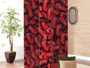 Φόντο με Κόκκινες Πεταλούδες Φόντο Παραβάν 80×180 cm [Δίφυλλο]