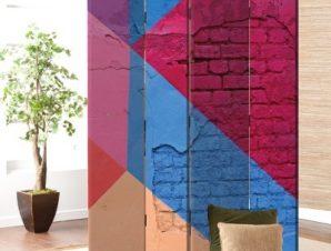 Πολύχρωμος Τοίχος Φόντο Παραβάν 80×180 cm [Δίφυλλο]