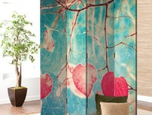 Ροζ φύλλα Vintage Παραβάν 80×180 cm [Δίφυλλο]